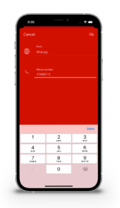 EVO App - Telephone number registration